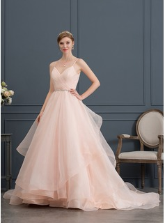 Ball-Gown Sweetheart Court Train Organza Wedding Dress With Ruffle Beading