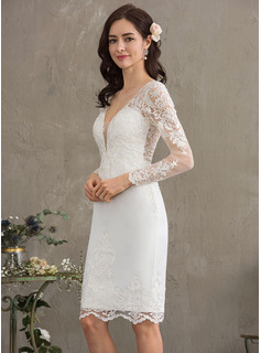 Sheath/Column V-neck Knee-Length Stretch Crepe Wedding Dress