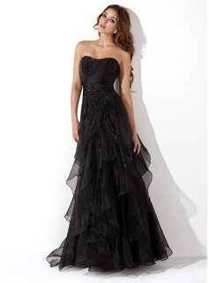 Sweetheart Floor-Length Organza Evening Dress With Cascading Ruffles