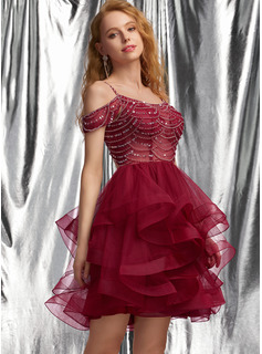 Ball-Gown/Princess Scoop Neck Short/Mini Tulle Prom Dresses With Beading Sequins
