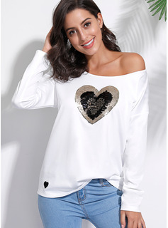 Long Sleeves Polyester One Shoulder T-shirt Blouses