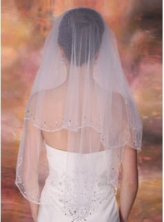 Two-tier Elbow Bridal Veils With Beaded Edge