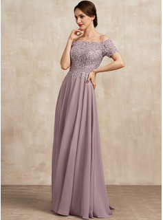 A-Line Off-the-Shoulder Floor-Length Chiffon Lace Mother of the Bride Dress With Beading Sequins