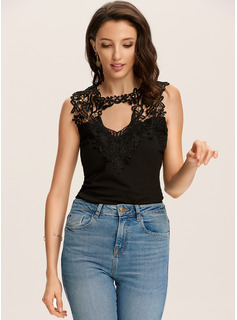 Sleeveless Polyester Round Neck Tank Tops Blouses