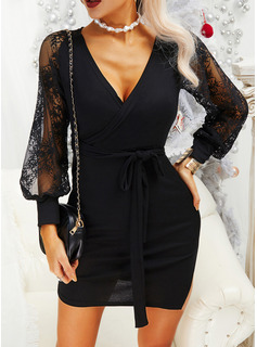 Lace Solid Sheath V-Neck Long Sleeves Midi Casual Little Black Dresses