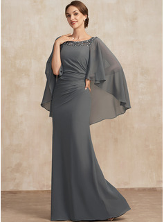 Trumpet/Mermaid Scoop Neck Floor-Length Chiffon Mother of the Bride Dress With Ruffle Beading