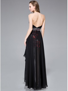 A-Line/Princess Sweetheart Asymmetrical Chiffon Sequined Prom Dresses With Beading
