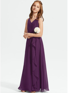 A-Line V-neck Floor-Length Chiffon Junior Bridesmaid Dress With Ruffles