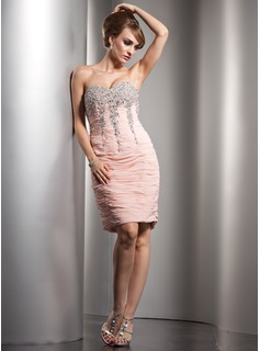 Sheath/Column Sweetheart Knee-Length Chiffon Cocktail Dress With Ruffle Beading Sequins