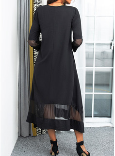 v-neck evening dress with sleeves