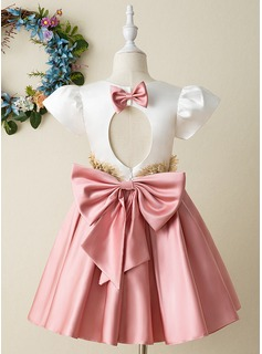 A-Line Knee-length Flower Girl Dress - Satin Short Sleeves High Neck With Bow(s)