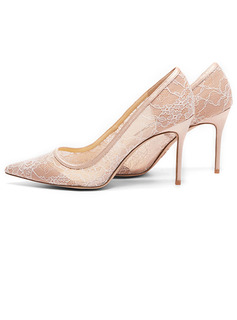 Women's Lace Stiletto Heel Closed Toe Pumps With Split Joint