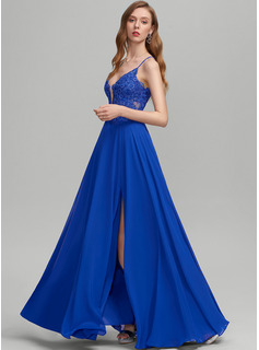 A-Line V-neck Floor-Length Chiffon Prom Dresses With Split Front