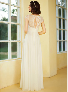 A-Line V-neck Floor-Length Wedding Dress With Ruffle Lace