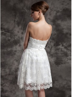 Empire Sweetheart Knee-Length Charmeuse Lace Wedding Dress With Ruffle Beading Sequins