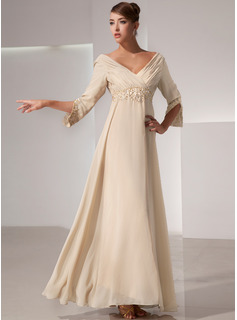 Empire V-neck Floor-Length Chiffon Mother of the Bride Dress With Ruffle Beading