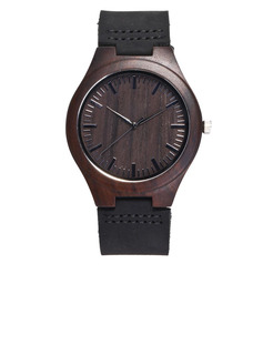 Groomsmen Gifts - Personalized Mens Custom Engraved Leather Ebony Watches