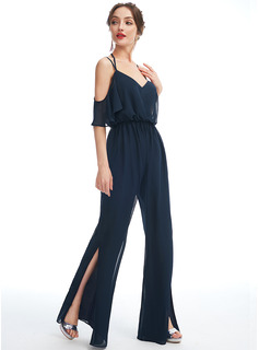 Jumpsuit/Pantsuit V-neck Floor-Length Bridesmaid Dress With Ruffle