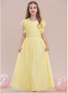Scoop Neck Floor-Length Chiffon Junior Bridesmaid Dress With Ruffle Cascading Ruffles