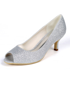 Women's Sparkling Glitter Stiletto Heel Peep Toe Pumps With Sparkling Glitter