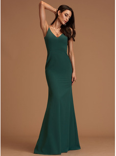 Sheath/Column V-neck Floor-Length Stretch Crepe Bridesmaid Dress