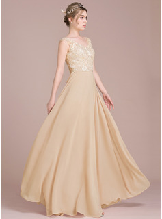 A-Line/Princess V-neck Floor-Length Chiffon Lace Prom Dresses