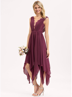 A-Line V-neck Ankle-Length Chiffon Lace Cocktail Dress