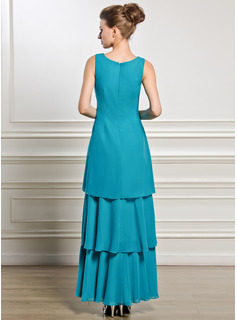Scoop Neck Ankle-Length Chiffon Mother of the Bride Dress