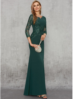 Trumpet/Mermaid Scoop Neck Floor-Length Satin Evening Dress With Sequins