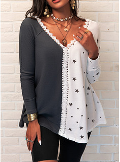 Regular Cotton Blends V-Neck Lace Print Knit Blouses