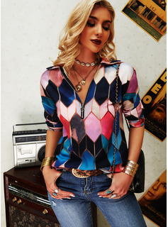 Regular Cotton Blends Lapel Geometric Print Fitted Blouses