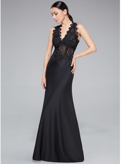 Sheath/Column V-neck Floor-Length Lace Jersey Evening Dress