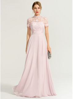 A-Linie High Neck Bodenlang Chiffon Ballkleid