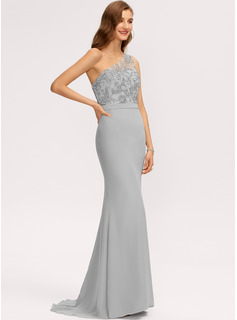 Trumpet/Mermaid One-Shoulder Sweep Train Chiffon Evening Dress