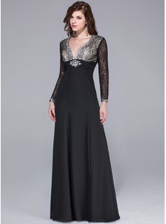 Sheath/Column V-neck Floor-Length Chiffon Lace Prom Dresses With Beading Split Front
