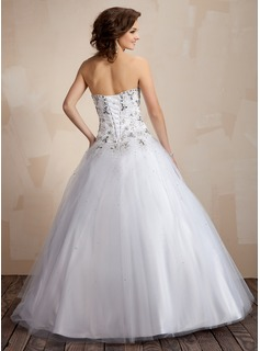Ball-Gown Sweetheart Floor-Length Tulle Quinceanera Dress With Embroidered