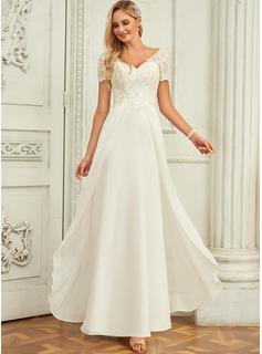 V-neck Floor-Length Chiffon Lace Wedding Dress With Lace