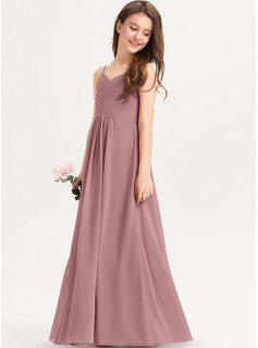 V-neck Floor-Length Chiffon Junior Bridesmaid Dress With Ruffle