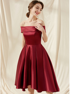 A-Line Off-the-Shoulder Asymmetrical Satin Bridesmaid Dress With Pockets