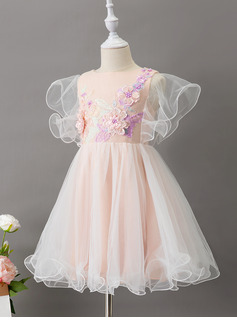 A-Line Knee-length Flower Girl Dress - Tulle Short Sleeves Scoop Neck With Ruffles/Lace/Beading