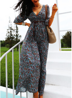 Print A-line V-Neck 3/4 Sleeves Maxi Casual Skater Dresses