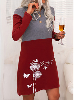 Animal Print Color Block Round Neck Long Sleeves Casual Long Sweater Dress Dresses