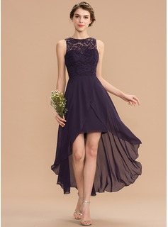 Scoop Neck Asymmetrical Chiffon Lace Cocktail Dress
