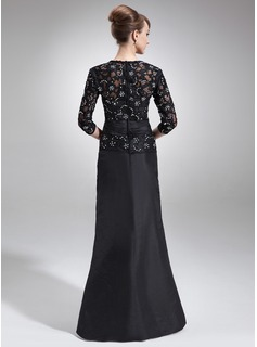 A-Line/Princess V-neck Floor-Length Taffeta Lace Mother of the Bride Dress With Beading Flower(s) Sequins