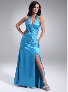A-Line/Princess Halter Floor-Length Charmeuse Prom Dresses With Ruffle Beading Split Front