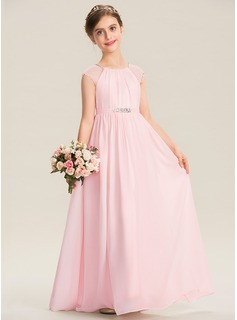 Scoop Neck Floor-Length Chiffon Junior Bridesmaid Dress With Beading Sequins