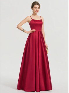 Square Neckline Floor-Length Satin Prom Dresses