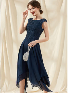 A-Line Scoop Neck Ankle-Length Chiffon Lace Cocktail Dress With Beading