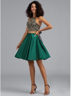 A-Line Halter Short/Mini Satin Homecoming Dress