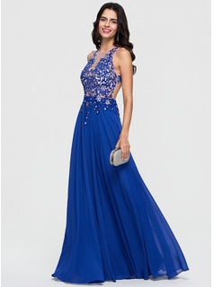 A-Line/Princess Scoop Neck Floor-Length Chiffon Prom Dresses With Lace Beading Sequins